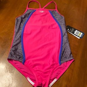 Speedo girls 14 pink bathing suit new with tags